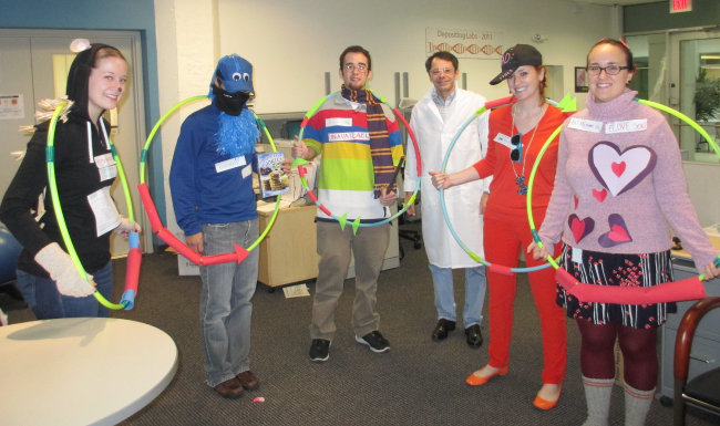 Addgenies dressed up as popular plasmids for Halloween 2012.