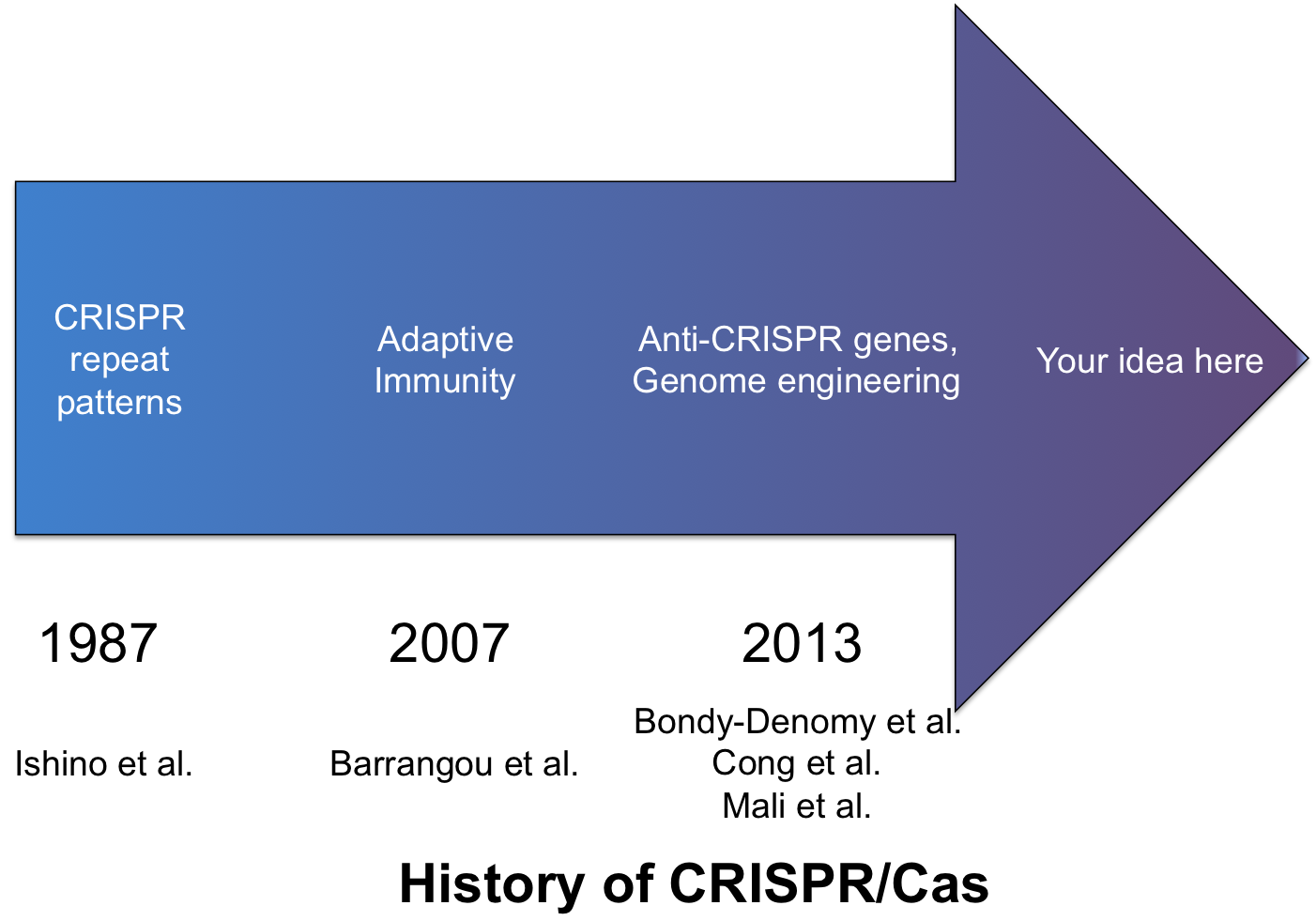 history of CRISPR cas from 1987