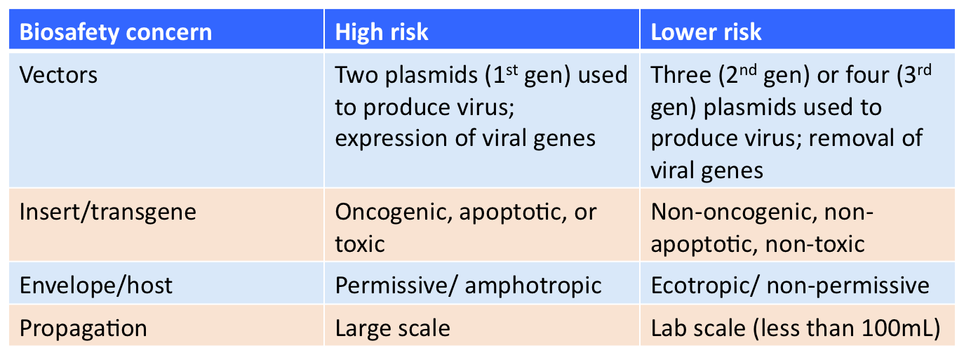 Table describing biosafety concerns associated with lentiviral transduction