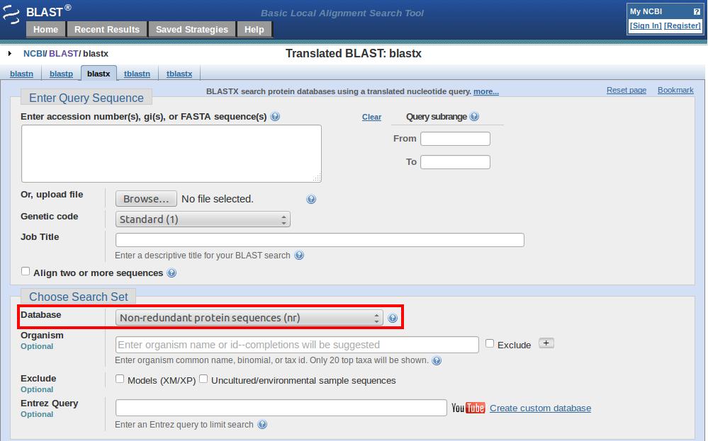 blastx database selection