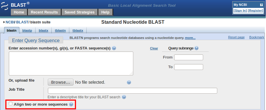 blastn align multiple sequences