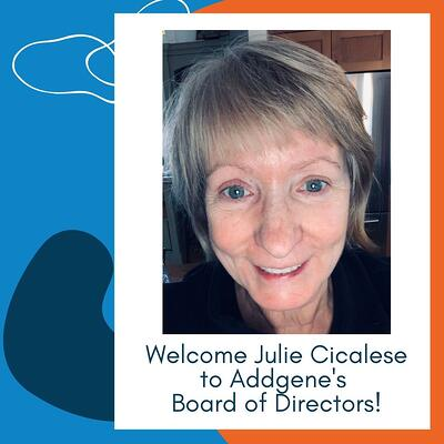 """Photo of Julie Cicalese above the text """"Welcome Julie Cicalese to Addgene's Board of Directors!"""""""