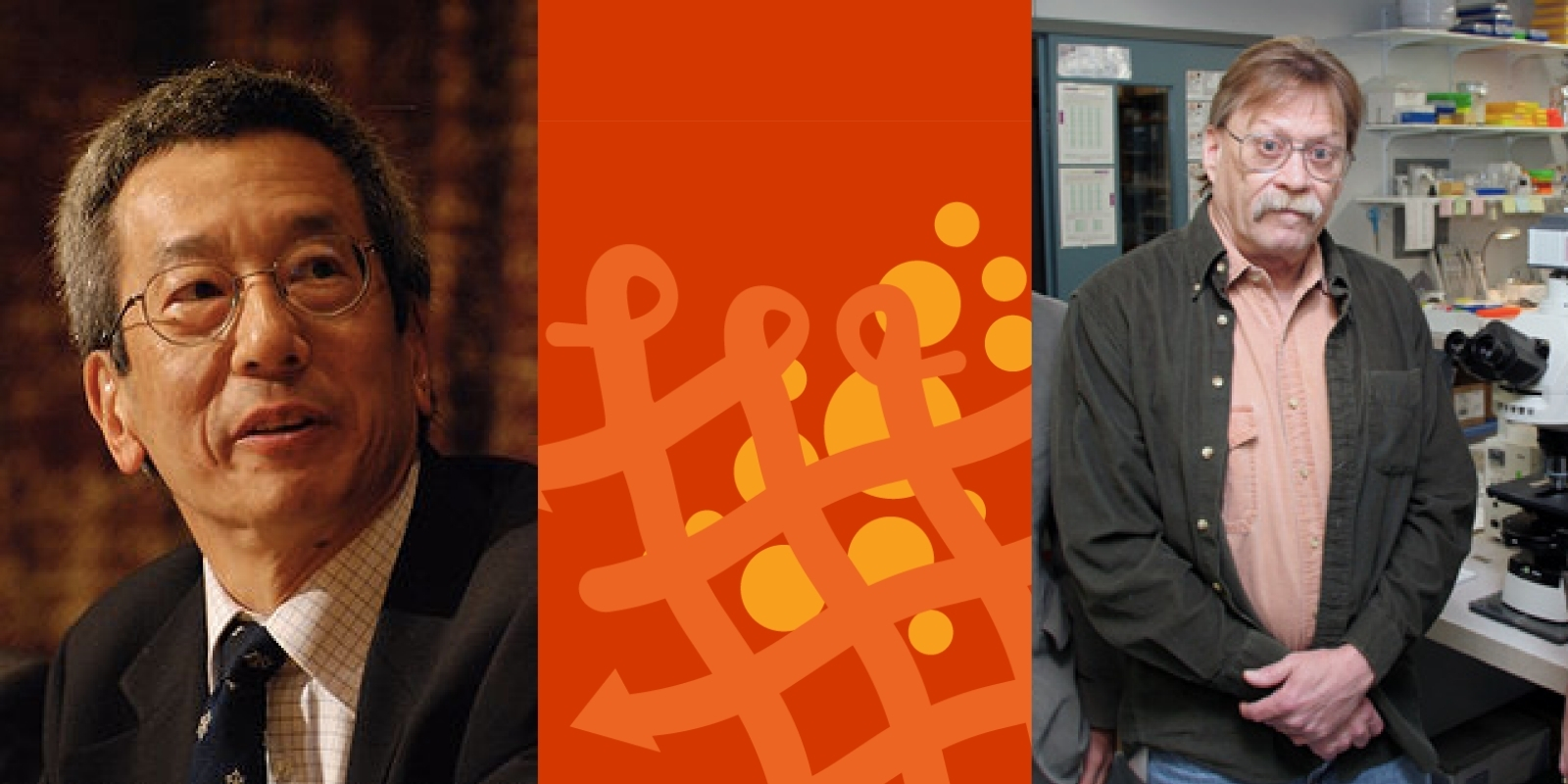 Image of Roger Tsien and Michael Davidson on an orange background with a graphical fluorescent protein