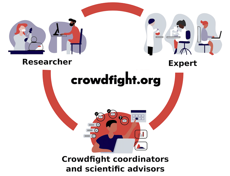 Flowchart showing the connections Crowdfight coordinators and scientific advisors make between researchers and experts.