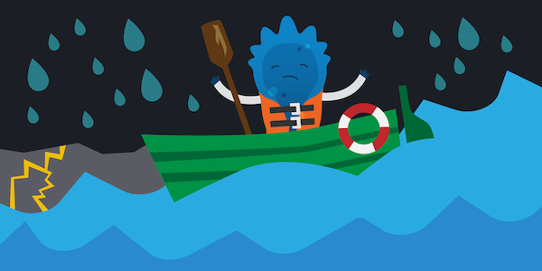 Blugene stands with a life jacket on with an oar in a blue boat with an attached life saver. The waves below are choppy and it's raining with dark storm clouds and lightning. Blugene looks uphappy.
