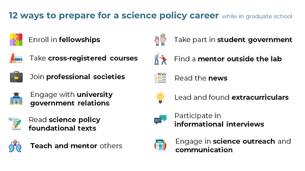 12 ways to prepare for a science policy career while in graduate school: enroll in fellowships, take cross-registered courses, join professional societies, engage with university government relations, read science policy foundational texts, teach and mentor others, take part in student government, find a mentor outside the lab, read the news, lead and found extracurriculars, participate in informational interviews, and engage in science outreach and communication.