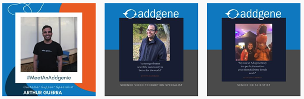 A screen shot of the Meet an Addgenie series on Instagram. Three square photos of Addgenies left to right, each in a blue border