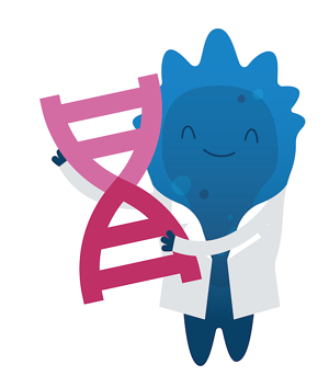 Addgene's mascot Blugene is wearing a lab coat and holding up a big piece of pink DNA