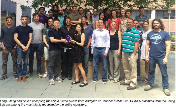 Feng Zhang lab accepts their blue flame award