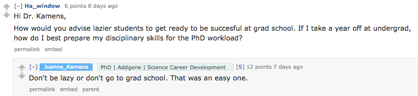 Lazy Grad Student AMA Question