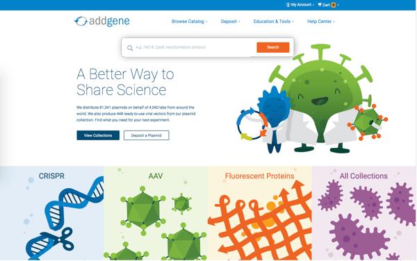 Addgene homepage screenshot