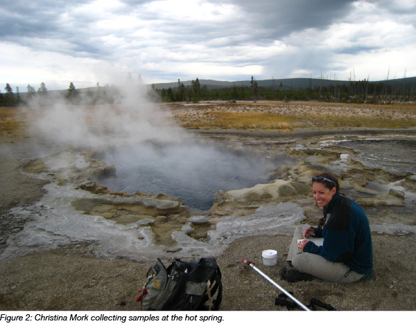sample collection at yellowstone hot spring