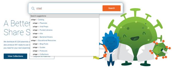 Addgene homepage search suggestion