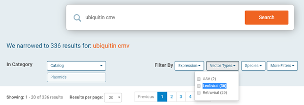 Addgene new search filters