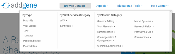 Addgene plasmid categories in drop down menu