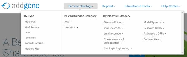 Addgene plasmid categories in drop down menu