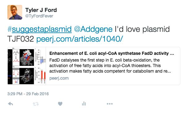 Suggest a Plasmid Sample Tweet