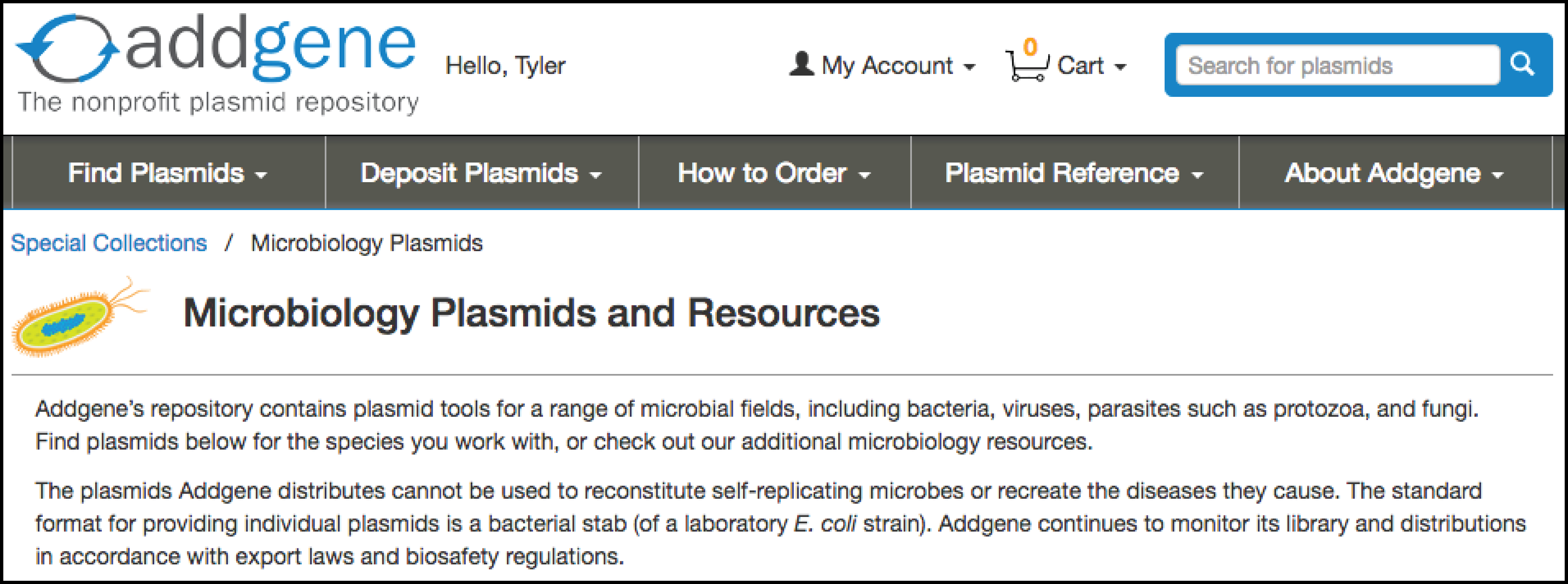 Addgene Microbiology Collection Screenshot
