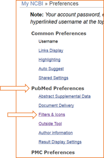 PubMed Preferences