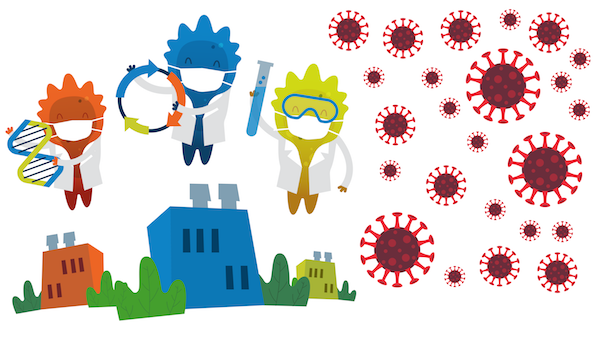 graphic showing three Blugene's holding DNA, plasmid, and a vial. Blugenes are above buildings and next to SARS-CoV-2 icons