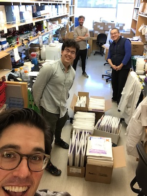 Four scientists in the lab standing between lab benches with boxes of packages containing plasmids ready to ship out