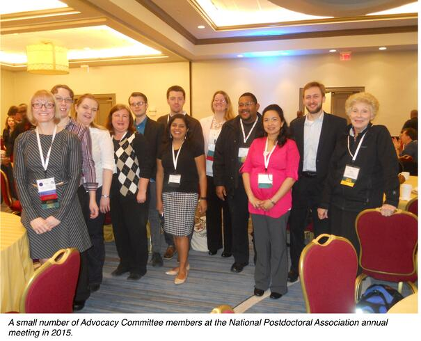 A small number of Advocay Committee members at the Nation Postdoctoral Association (NPA) 2015 annual meeting