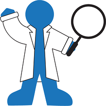 Blugene with magnifying glass