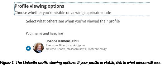 LinkedIn profile viewing options