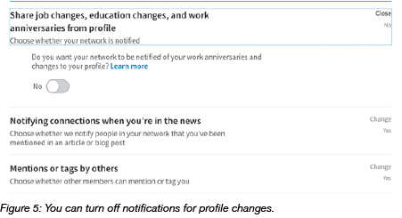 Switching notifications for profile changes in LinkedIn