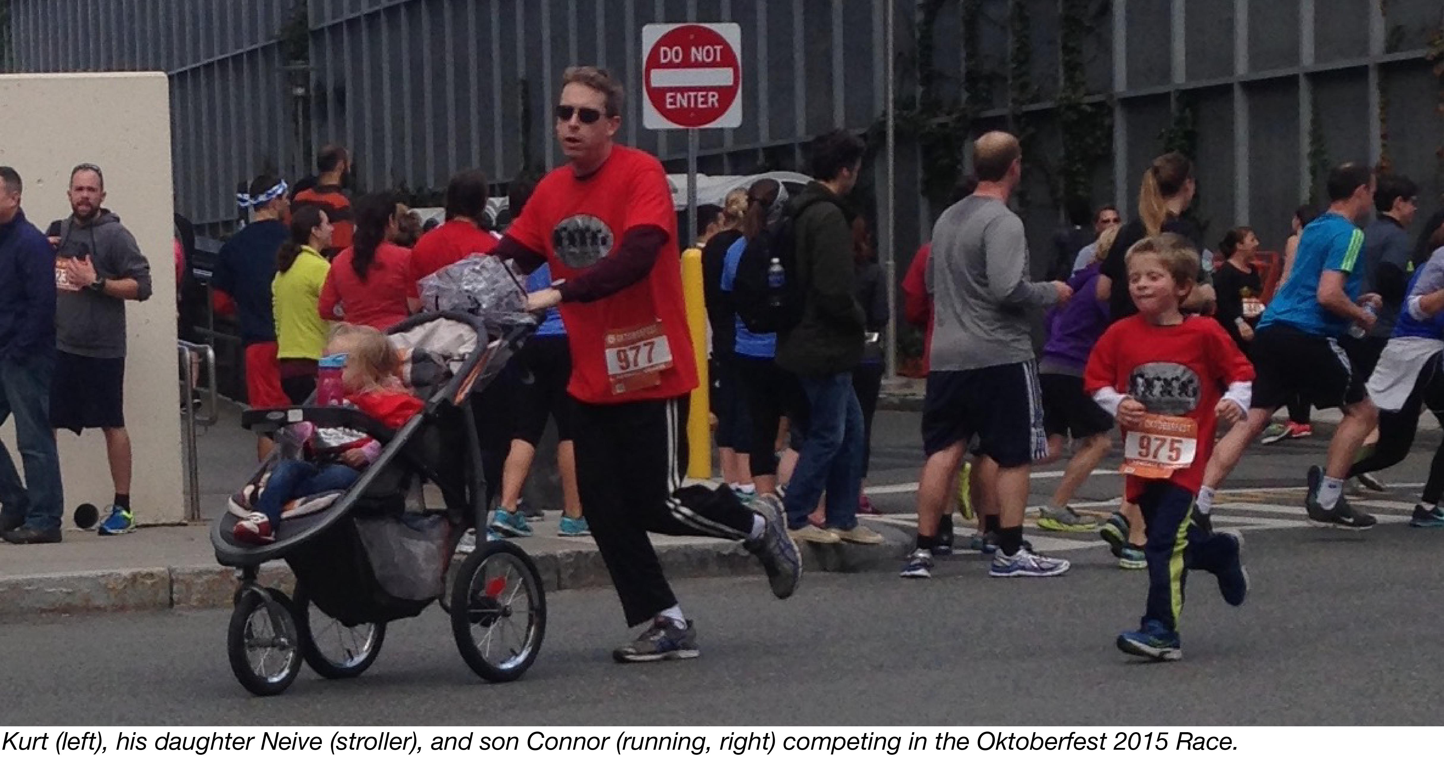 The Swanson family running at the Oktoberfest 2015 Race