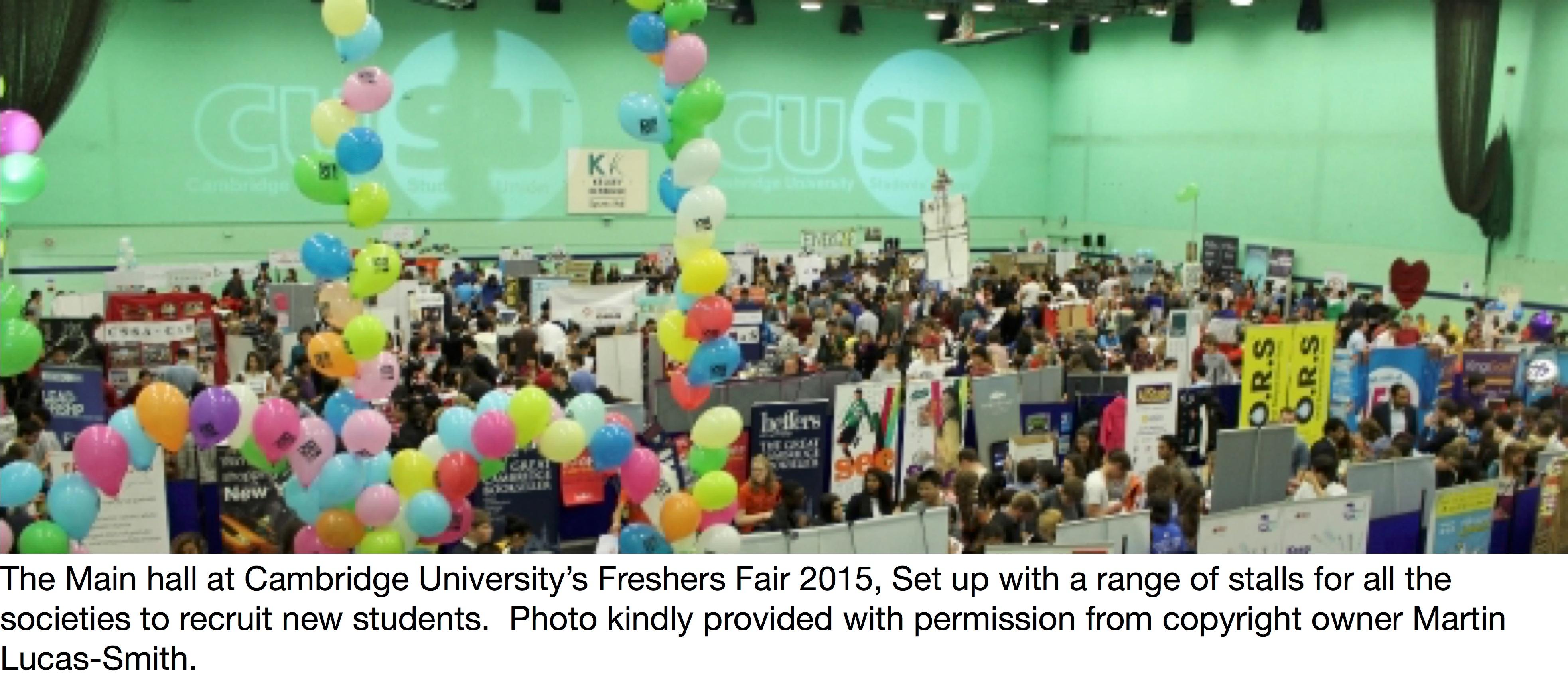 Freshers Fair at Cambridge University in the UK